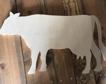 Cow Wood Cutout, Naked, Unfinished