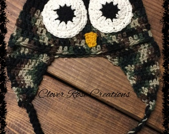 Toddler Owl Earflap Hat