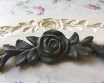 Clay Flower Large Sprig Rose Blossom Pottery Press Mold Relief or Sprig Mold Bisque Clay Floral Stamp for Decoration and Texture