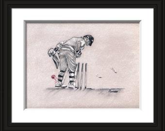 Unbelievable! - cricket fine art print, cricket art, cricket gift, cricket collectible, gifts for cricket lovers, sports art,