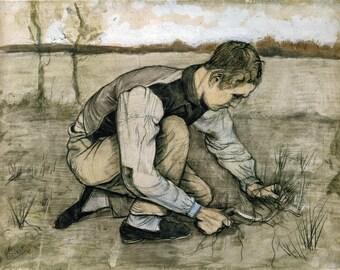 Van Gogh Reproduction.  Boy with a Sickle, 1881.  Fine Art Print.