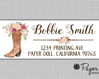 Return Address Labels, Western Cowgirl Boots Watercolor Floral Labels, Labels, Personalized Custom, Hostess, Birthday, Teacher Gift, Bobbie
