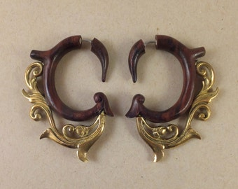 Faux Gauge Filigree Wood and Brass Earrings ~ The gauged look without the commitment! Free shipping