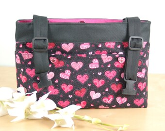 Powerchair - Walker Bag:  Say I Love you with a fun heart print bag, with a hot pink lining.