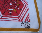 Kati Vintage Large Handkerchief Shades of Pink Red Gold on Light Linen Good Condition w Cat Logo and Signature Clean Free US Ship C Detail