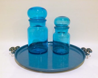 Aqua Blue Bubble Top Glass Apothecary Jars (Set of 2)