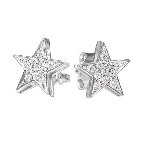 Star Diamond Stud Earrings 14K Gold.
