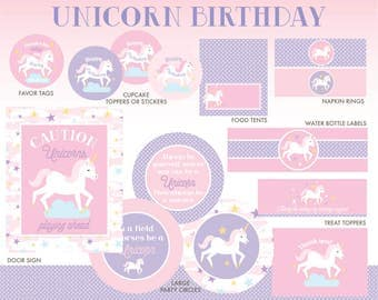 Unicorn Birthday Decorations, INSTANT DOWNLOAD, Unicorn Party Package