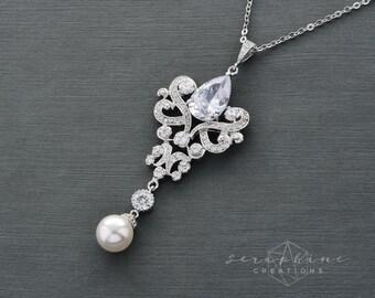 Wedding Necklace Bridal Jewelry Pearl Bridal Necklace Cubic Zirconia Swarovski Pendant Victorian Ornamental Sparkly Pendant Isolde W10