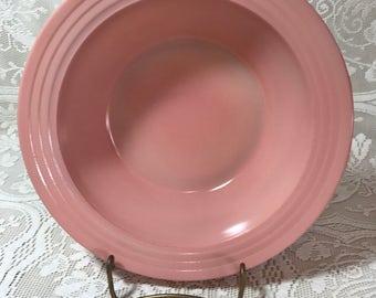 Vintage 1940's Hazel Atlas Moderntone Platonite Pastel Pink Large Vegetable Bowl