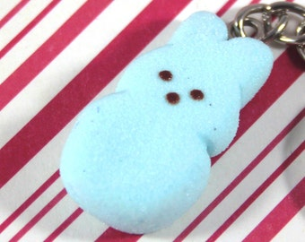 easter key chain bunny peep key chain kawaii polymer clay charms miniature food jewelry polymer clay food charm marshmallow bunny key chain