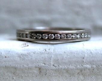 Vintage 18K White Gold Diamond Full Eternity Wedding Band - 0.78ct.