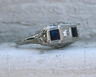 Fabulous Vintage 18K White Gold Diamond and Sapphire Three Stone Engagement Ring - 0.80ct.