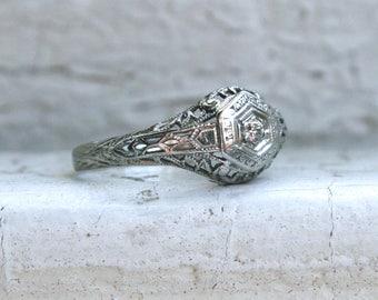 Sweet Vintage 18K White Gold Diamond Filigree Engagement Ring