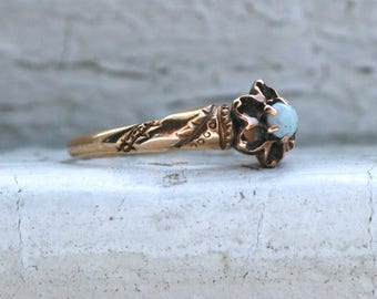 Antique Buttercup 14K Yellow Gold Opal Solitaire Ring Engagement Ring.