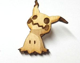 Mimikyu Pokemon Pin | Laser Cut Jewelry | Wood Accessories