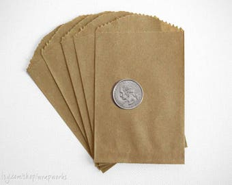 300 Small Brown Kraft Paper Bags- 2.75 x 4 inches, Favor or Utensil Bag (Priority Mail)