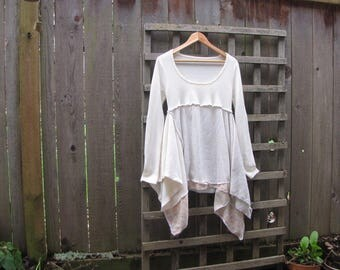 Upcycled Scoop Neck Lagenlook Tunic Shirt/ Romantic White Gold Rose Asymmetrical Eco Sweater Blouse/ Hi Lo Handkerchief Hem Womens Tops S