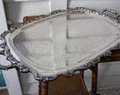 large silver footed tray, Poole, silver plated tray, footed tray by Poole, silver handled tray, rectangular silver tray