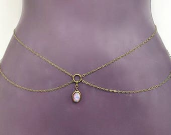 pink opal belly chain, body chain, crystal body chain, opal body chain, waist chain, pink opal chain, opal waist chain