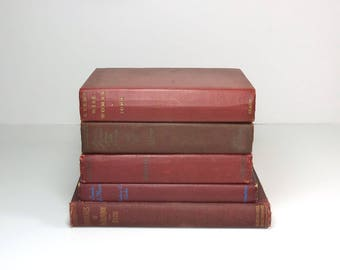 Antique Red Books Instant Library Decorating Set of Five