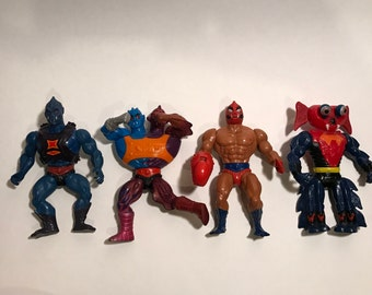 MOTU He-Man Action Figure Lot. , Webstor, Two-Bad, Clawful, and Mantenna.