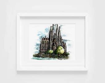 sagrada familia gaudi watercolor illustration art print | travel, wanderlust, barcelona, decoration, catalonia, spain, europe