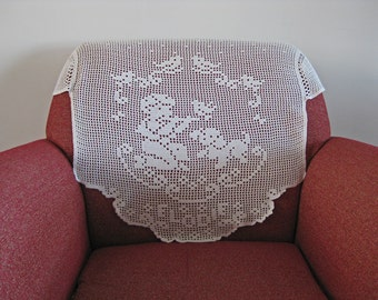 crochet chair back cover with cherub puppy and bird - vintage French antimacassar
