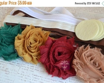 HOLIDAY SALE DIY Headband Making Kit - Autumn Collection - Chiffon Frayed Flowers - Shabby Rose Trim - Flower Headbands - Fall Colors - Gold