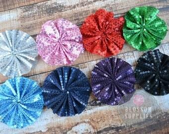 The Ava Collection - Sequin Ballerina Flowers - DIY Flower Headband - Holiday Wedding Bridal Flowers - Ruffle Blossoms - Blossom Supplies