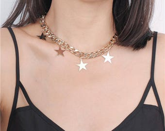 Delicate simple chunky star choker necklace - party necklace