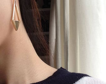 Asymmetrical Long dangle diamond shape earrings