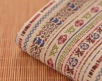Ivory National stripes Printing and dyeing,Cotton Linen Fabric for craft, Medium Thickness, no stretch,Linen Fabric 1/2 yard (QT1129)