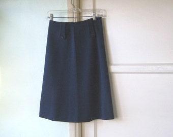 1960s Vintage Airline Uniform Skirt~Small, Navy Blue A-Line Stewardess/Flight Attendant Skirt; Free Shipping/U.S.