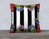 Vintage Flowers and Bird Black & White Stripe Velveteen Cushion Cover