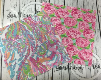 Lilly Pulitzer Inspired Sublimated 100% Polyester Fabric, perfect for appliques