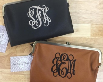 "Monogrammed ""HOBO"" Style Clutch Wallet available in Black and Camel"