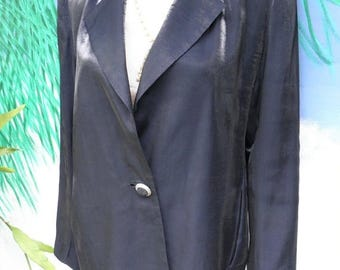 1/2 OFF Vintage Town & Country Metallic Navy Blue Blazer, Jacket, Shiny, Glossy, Sz S Made in U.S.A.
