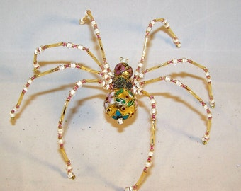 Christmas Spider Gold Cloisonne  Beaded German  Ornamental Tree Decoration
