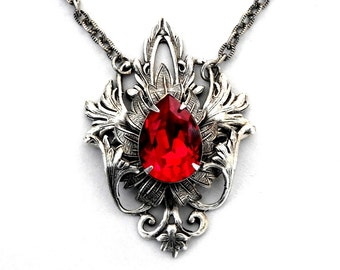 Gothic Red Necklace  Red Swarovski Crystal Necklace Red Wedding Jewelry Red Bridal Necklace Gothic Jewelry Gothic Necklace