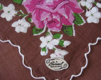 Burmel Label Handkerchief Cotton Print Pink Roses & White Violets on Chocolate Brown Background Purse Accessory Pristine Unused with Label