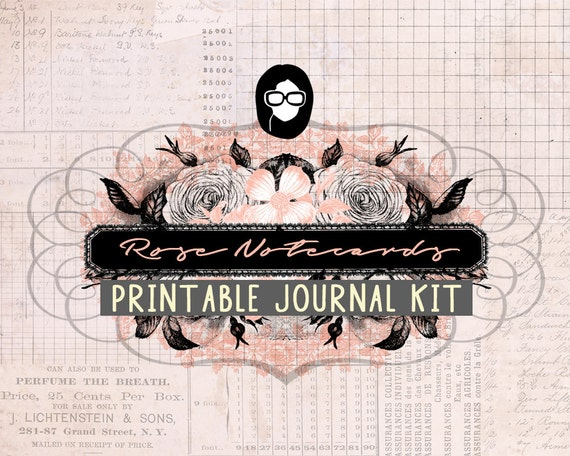 Junk Journal kit - Rose Notecards - 22 Journal Refill Pages - printable diary pack, vintage junk journal, floral digital paper, diy journal