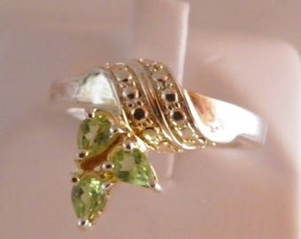 Sterling Silver Peridot Size 7 Ring