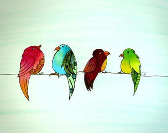 Bird art, birds on a wire, Colorful original pen and ink drawing