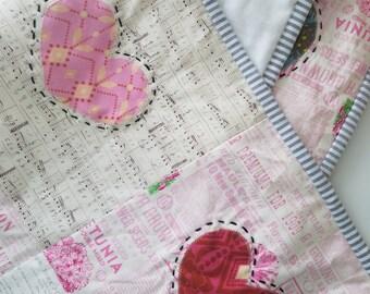 Wall Hanging - Baby Playmat - Anna Maria Horner Quilt - Heart Quilt