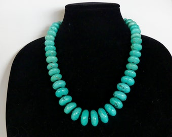 22 Inch Chunky Graduated Blue Turquoise Necklace with Earrings
