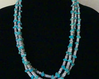 SALE!  Vintage Navajo 25 Inch Morceni Turquoise and Oyster Shell Triple Strand Necklace