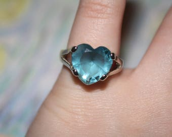 Blue heart gemstone ring sterling silver size 5.5