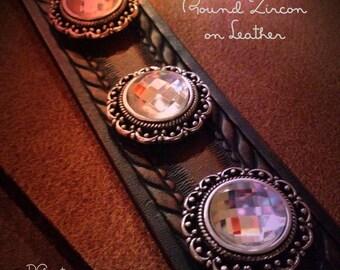 Leather and Zircon Cuff Bracelet, Handmade Leather Wristband