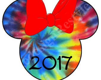MinnieMouse Tie dye 2017 Iron-On Digital File